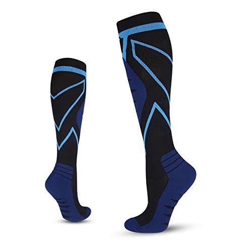 Generric Calcetines Largos de Compresión Graduados, Medias de Compresión Transpirables para Hombres Mujeres, Calcetines soporte de Pantorrillas, Viajes, Deportes Atléticos(20-30 mmHg) (azul)