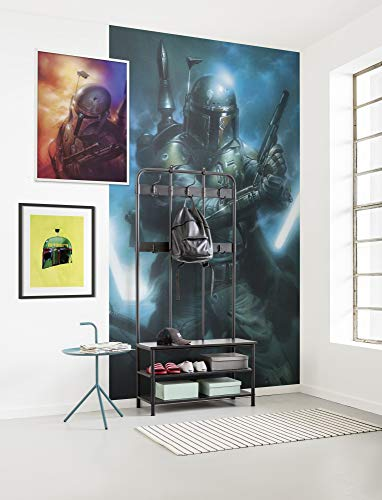 Komar Vlies Fototapete Star Wars Classic Bounty Hunter | Größe: 150 x 280 cm (Breite x Höhe), Bahnbreite 50 cm | Tapete, Wandbild, Dekoration, Wandbelag, Kinderzimmer, | DX3-034, blau