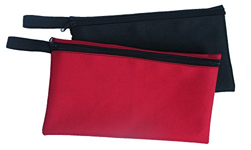 Zipper Bags Poly Bags Small tool pouch pencil case with Carabiners-12'x6.5',(2PK-Different colors) HW0020 Generic