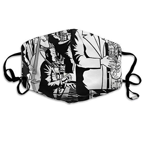 Jazz-Blasorchester, Die Nachts Saxophon-Kontrabass-Trompete Und Keyboard Spielt,Mundschutz,Staubschutzhülle,Staubschutz,Gesichtsschutzhülle,Gesichtsdekorationen,Mouth Scarf