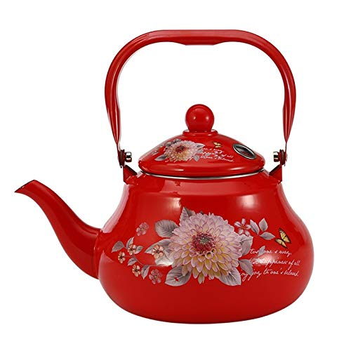 2.5 L Whistle kettle Red Flower Whistle Water Pot Coffee Enamel Pot for Kitchen Tool Whitle Pot