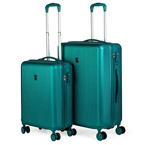 JASLEN - Set 2 valigie trolley in ABS strutturato 50/60 cm. Rigido, resistente e leggero. 4 ruote doppie Lucchetto TSA. Piccolo basso costo 171015, Color Turchese