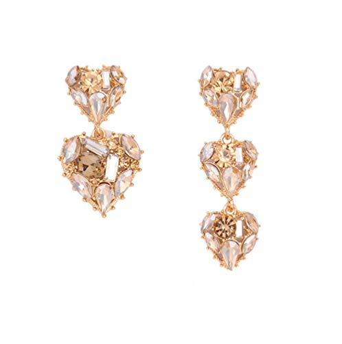 Vvff Ab Pendientes De Gota De Corazón De Cristal Brillante Completo Para Mujer Joyería Asimétrica