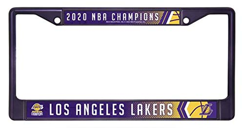 Rico Industries, Inc. Los Angeles Lakers 2020 Champions Purple Metal License Plate Frame Chrome Tag Cover Basketball