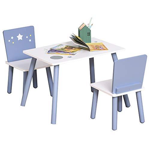 HOMCOM 3-tlg. Kindersitzgruppe mit Kindertisch Kinderstuhl Kindermöbel für 2 bis 4 Jahre alt Holz Blau+Weiß 60 x 40 x 43 cm