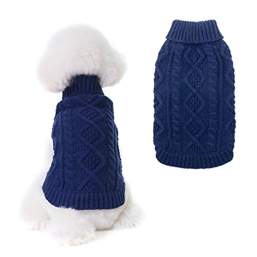 BINGPET Turtleneck Knitted Dog Sweater - Classic Cable Knit Dog Jumper Coat, Warm Pet Winter Clothes Outfits for Dogs Cats in Cold Season
