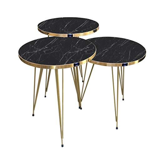 moebel17 5361 EYGD05 - Beistelltisch 3 er Set rund - Kaffeetisch Satztisch mit Metallgestell, Wohnzimmertisch Tisch, Schwarz Marmor, vergoldet, Breite 38 cm x Höhe (H) 45,5 cm (H) 49,5 cm (H) 53,5 cm
