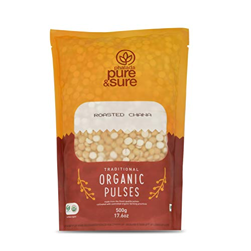 Pure & Sure Organic Roasted Chana Dal   Healthy & Wholesome Organic Pulses  Rich in Fiber, High Protein, No Preservatives   500gm