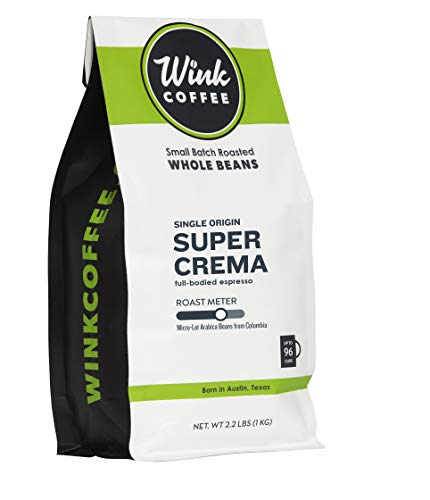 Wink Coffee Super Crema Espresso - 100% Arabica Whole Bean Coffee - Large 2.2 Pound Bag - Colombian Single Origin - Rich, Smooth, Full Bodied and Complex, Sustainable Sourcing