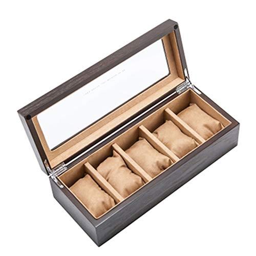 ALG 5 Slots Aufbewahrungsbox für Holzuhren, multifunktionale Vitrine, rutschfest, Samtkissen aus Seidenbaumwolle, natürlicher Umweltschutz