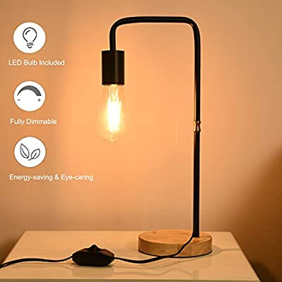 Dimmable Table Lamp, Dimmable Industrial LED Desk Lamp, Wooden Base Nightstand Lamp for Bedroom, Living Room, Office, ST64 6W 2700K Dimmable Vintage LED Bulb Included