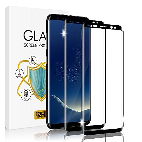 wsky Panzerglas Schutzfolie für Samsung Galaxy S8 [2 Stück], 9H Härtegrad Panzerglasfolie, Anti-Kratzen, Gebogene Kante, Ultra-Klar Displayschutzfolie für Samsung S8