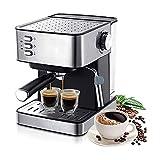 HAOGUO Máquinas de café Máquina expreso eléctrica 1.6L Molinillo 15 Bar Express Cafetera Espuma Electrodomésticos Cocina Regalo Bomba Tradicional