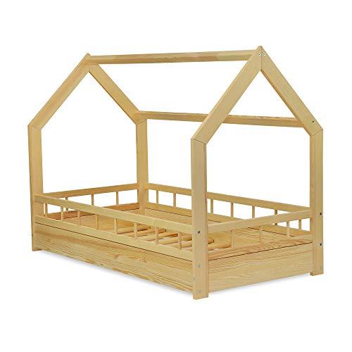 MS FACTORY Cama Infantil de Madera Pino - Cama Montessori Forma de Casa 80x160 cm para Niño y Niña - Barandilla Seguridad, Lamas Somier - Natural