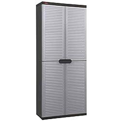 Colour: Light grey and black Material: Plastic (PP) External dimensions: 68 x 38 x 163 cm (W x D x H) Durable, impact-resistant polypropylene build Stylish louvre decoration on the doors, reminiscent of Venetian blinds