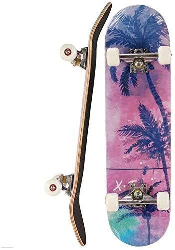 ZQCZ 9 Schicht Ahorn-Holz-Concave Skateboard Komplett Skateboards, 31-Zoll-Pro Skateboard für Jungen/Mädchen/Kinder/Jugendliche/Erwachsene, Skate-Brett für Anfänger,A