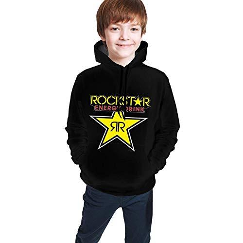 Teen Hoodie Jungen und Mädchen Pullover Sweatshirt Warmes und bequemes atmungsaktives Schwarz Rock-Star E-Nergy D-Rink S