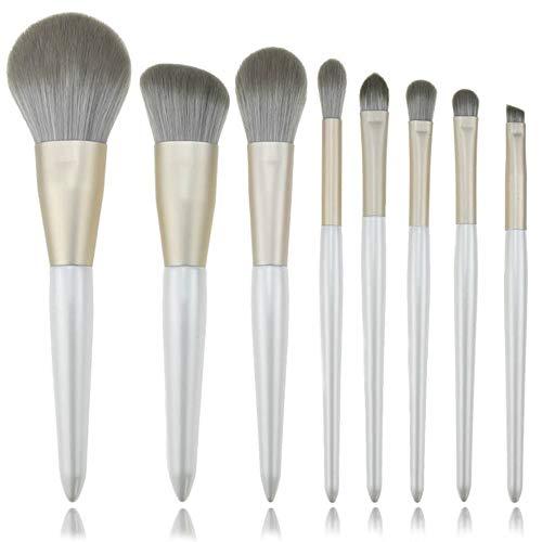 GBY Lot de 8 pinceaux de maquillage en bambou synthétique pour fond de teint, fard à paupières, eyeliner, Bronzer, Fibre synthétique., 02, Free