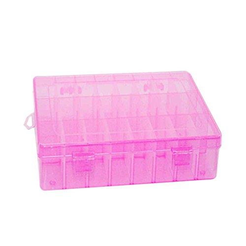 Lorjoy 24 Ranuras plástico Joyería Ajustable Caja