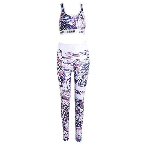BOZEVON Femmes Sportswear Costume sans Couture Soutien-Gorge + Leggings 2pcs Ensemble Gym Workout Fitness Yoga Courir Tenues, Style-B-3/M