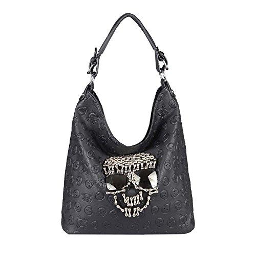 OBC Damen Totenkopf Skulls Tasche Strasssteine & Sonnenbrille Glitzer Bowling Handtasche Shopper XL Beuteltasche Schultertasche Umhängetache Henkeltasche (Schwarz 33x40x14 cm)