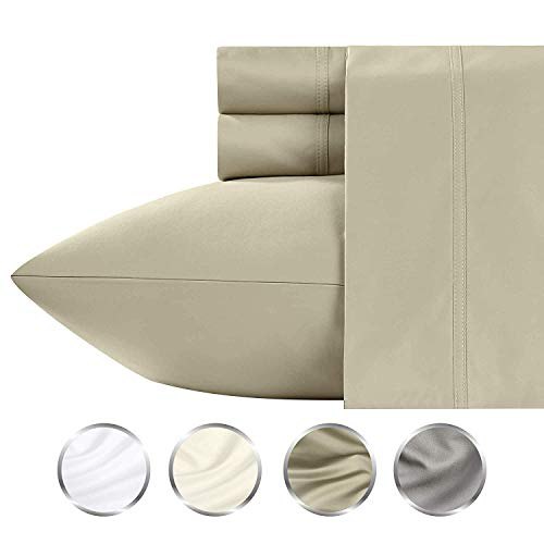 TBC USA Based (Not Made in China) 1000-Thread-Count Cotton 4 Piece Sheet Set, California King, Taupe Long-Staple Combed Cotton Yarns, Best Luxury Sateen Weave, Fits Mattress Upto 20'' Deep Pocket