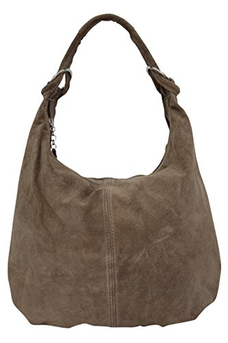 AMBRA Bolsa de mano para mujer, de piel de ante, Hobo-Bags, bolso...