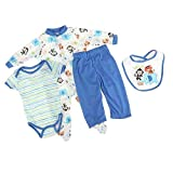YaptheS Renacer Bebé Ropa De La Muñeca De Traje Azul Accesorio para 20'- 22' Reborn Boy Muñecas Set De 4 Piezas