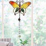 Cosylove Kristall Suncatcher Schmetterling Anhänger hängen Kronleuchter Prisma Regenbogen Maker Ornament für Fenster Sun Catcher Hausgarten Dekoration(Schmetterling Orange)