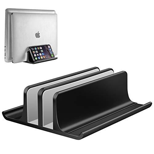 Vaydeer Vertikaler Laptop Ständer, Verstellbarer Laptop Ständer Vertikal, Aluminium 4 in 1 Laptopständer mit 2 Steckplatz Platzsparend für MacBook, Notebook, iPad, Laptops bis zu 17,3 Zoll - Schwarz