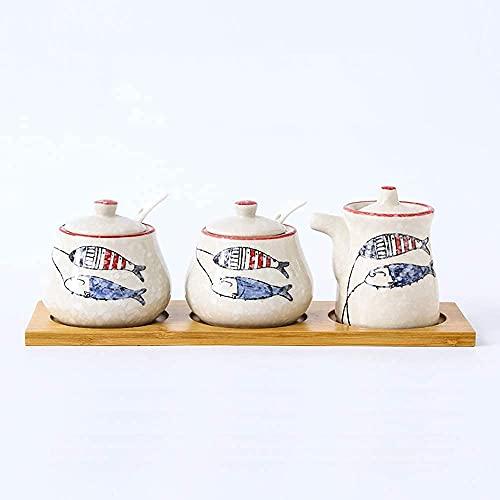 HaoLi Bote de vinagre de Aceite, aceitera y vinagrera, Botella dispensadora de Aceite (200 ml) Bote de cerámica de sobremesa para vinagre de Aceite - Salsa de Soja o vinagreta de vinagre con vertedor