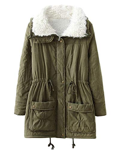 Women's Winter Coats Faux Fur Lined Quilted Jackets Fashion Winter Parka (Plus US 1X, Army Green)