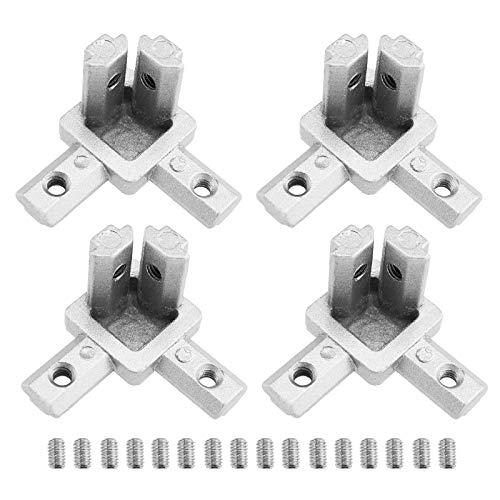 4 Satz 3-Wege-End-Eckverbinder mit Schrauben für Europäische Norm Aluminium Extrusion 2020 Serie