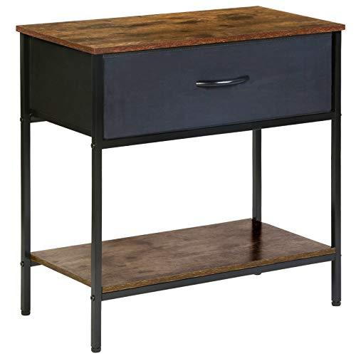 Kamiler Nachttisch mit Schublade, Beistelltisch, Telefontisch, im Vintage Style für Büro oder Schlafzimmer, Akzentmöbel in Holzoptik mit stabilem Metallrahmen für Wohnzimmer, Flur, Küche