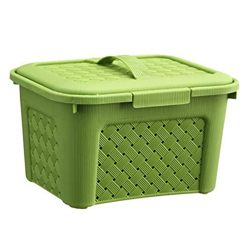 LOVIVER Organizador de Contenedores de Caja de Cesta de Almacenamiento de 3 Colores para Cocina, Baño, Dormitorio - Verde, Individual