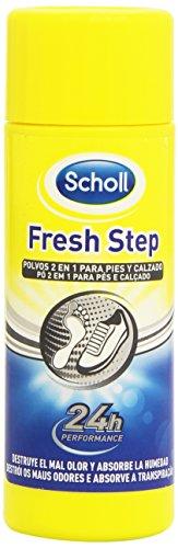 Scholl Fresh Step Anti-transpirante, Desodorante en polvo 2 en 1 Pies, Elimina el olor y mantiene tus pies y zapatos frescos - Spray 75gr