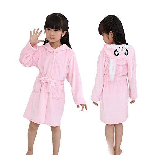 XZYC Bademantel Kapuzenkinder Bademantel Kinder Bademantel Jungen Mädchen Pyjamas Nachthemd Kinder Nachtwäsche, Rosa Kaninchen Robe, 13T (Höhe 140-150Cm