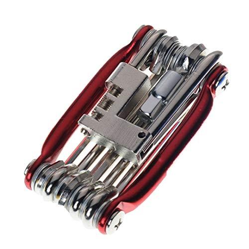 Vélo Outils de vélo Kit de réparation 15 Dans 1 réparation vélo outil Kit clé tournevis chaîne en acier au carbone vélo outil multifonctions 11in1 red