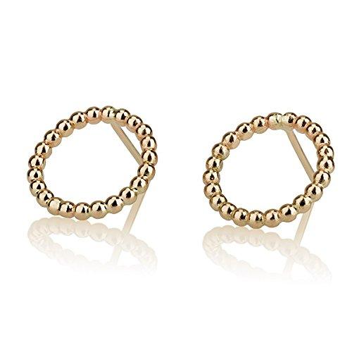 Round Circle New York Mall Dallas Mall 14 Karat Gold Earrings Small Stud