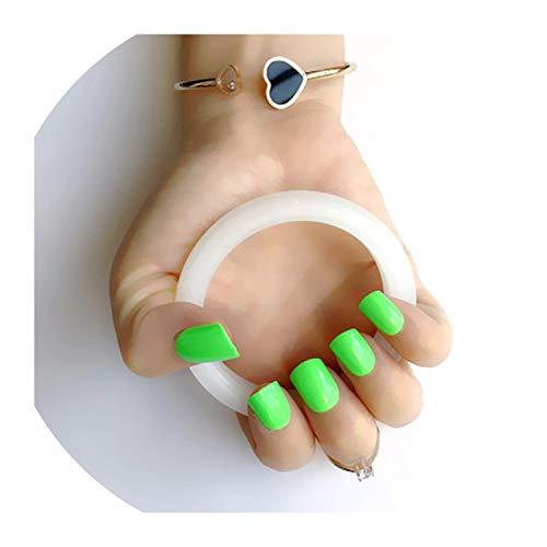 26 Farben Optional Süßigkeit Pailletten Short Flachkopf Künstliche Nägel Press On künstliche falsche Nägel Art Dekoration Tip Werkzeug, Perlen grün 16