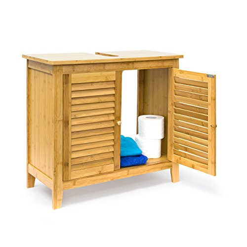 Relaxdays Waschbeckenunterschrank LAMELL, 2 Türen, Waschbecken & Waschtisch, Bambus & MDF, HBT: 60 x 67 x 30 cm, natur