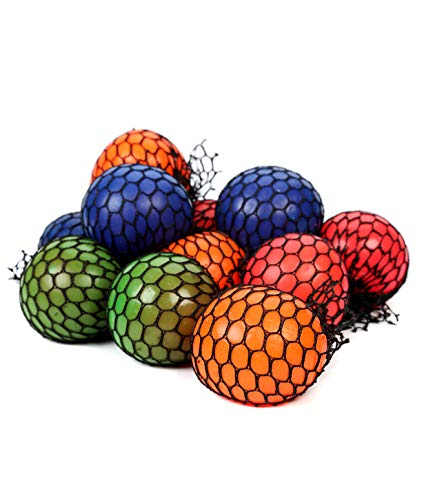 Fun Central BD108, 12 Pcs, 2.4 Inches Assorted Mesh Squishy Balls, Stress Balls, Squishy Toys for Kids, Sensory Toys, Soft Mini Balls, Squeeze Balls, Small Balls for Party Favors