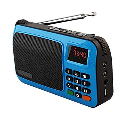 Bdesign Mini Radio FM, con Pantalla LED Música Estéreo Reproducción de música TF Tarjeta/Conexión USB Función de Bloqueo para niños Linterna de Emergencia, fácil de Leer Muy útil