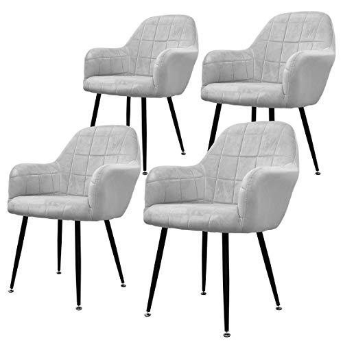 ECD Germany 4er Set Esszimmerstühle Esszimmerstuhl mit Rücken- und Armlehnen Grau Sitzfläche aus Samt Metallbeine Küchenstühle Küchenstuhl Wohnzimmerstühle Wohnzimmerstuhl Polsterstuhl Stühle Sessel