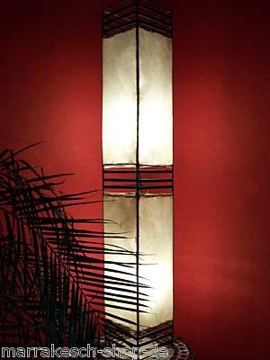 Oosterse staande lamp Koutoubia Natuur 120 cm lederen lamp hennalampe lamp | Marokkaans design vloerlampen gemaakt van metaal, lampenkap van leer | Oosterse decoratie uit Marokko, kleur natuur
