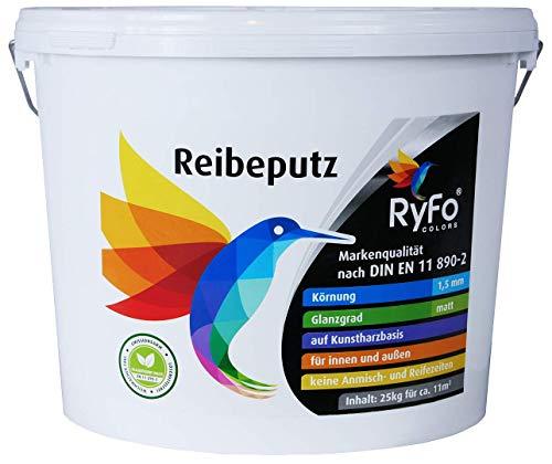 RyFo Colors Reibeputz 1,5mm 25kg - Fassadenputz, Oberputz, Edelputz, Strukturputz, Fertigputz weiß für innen und außen, witterungsbeständig, weitere Körnungen und Optiken wählbar