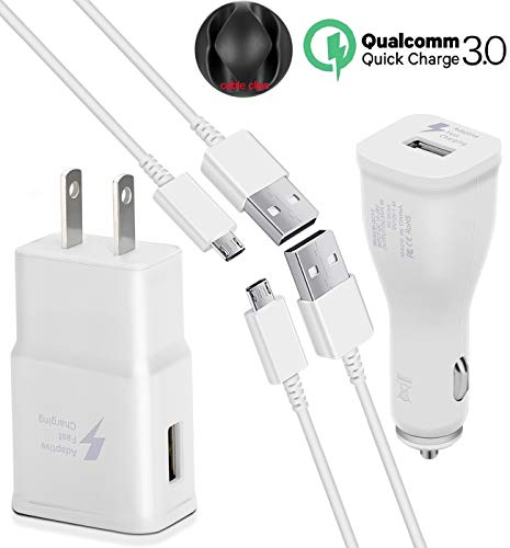 Fast Charge Adaptive Fast Charger Kit, Micro USB Charger for Samsung Galaxy S7/S7 Edge/S7 Active/ S6/S5/ Note5/4, Fast Wall Charger + Cable Clips + QC3.0 Rapid Car Charger with 2 Pack Cables (White)