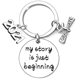 Class of 2021 Graduation Gifts Engraved Mantra Inspirational Keychain High School College Graduation Gifts for Her Him Box and Card for College Senior Graduate