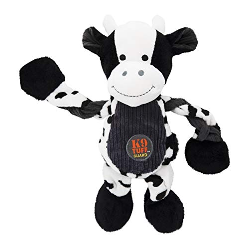 Charming Pet Pulleez Cow Squeaky Plush Dog Toy with Ropes for Pull-Through Tugging Action