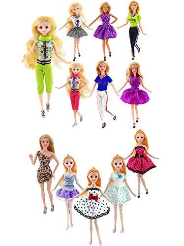 Estwell Ropa para 30cm Muñecas Ropa de Barbie Fashionista, 7 Vestidos de Moda Y 5 Traje de Ropa Casual con Camiseta y Pantalones